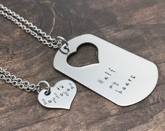 Half my heart is deployed necklace set,  Dog tag necklace, military necklaces, military gift, deployment gift