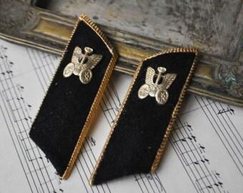 Vintage Soviet Russian Railroad worker uniform buttonholes.
