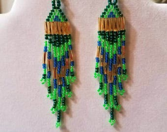Native American Style Seed Bead Teal, Green, Blue, Gold Earrings Brick Stitch Gypsy Boho, Southwester, Hippie, Tribal, Peyote  Ready to Ship