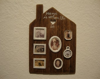 dollhouse miniature  panel  photographs in walnut wood