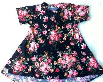 T-shirt dress/ spring short sleeve dress/ girls dress/ black floral