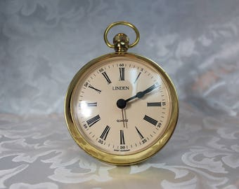 Linden Quartz Clock, Alarm Clock - Pocket Watch Style