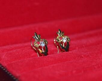 Gold Tone Earrings, Fleur De Lis, Fleur De Lis - Vintage Drop Earrings