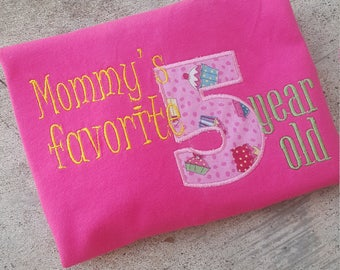 Girls customized t-shirt, birthday shirt, Mommy's favorite, 5 year old, birthday, kids, Daddy's favorite, Auntie's favorite,,