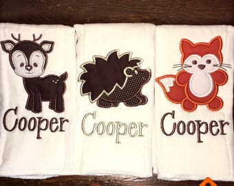 Set of 3 woodland creature monogrammed burp cloths-fox-deer-hedgehog-baby shower-hospital-coming home gift-personalized-unique-forest-orange