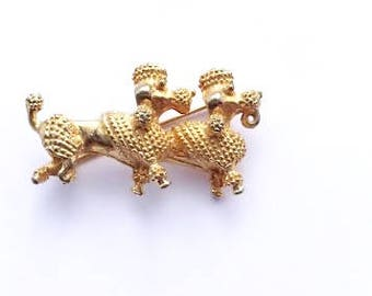 Double Poodle Charm or Brooch Gold Fun Figural Fashion Dog Jewelry