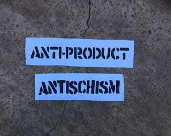 Antiproduct antischism anarcho punk sew on band patches lot of 2 white