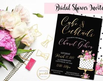 Bridal shower invite, Bridal Shower invitation, black and gold flower Bridal shower invite, Cake invite, Cake and Cocktails invitation