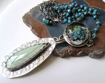 Imperial Jasper and Borosilicate Flower Pendant in Sterling Silver on Turquoise Chain Necklace Jewelry