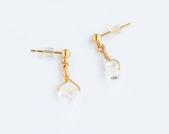 Tiny Quartz Cube Earring - Quartz Jewlery Delicate Earrings Gift Anniversary Womens Birthday Bridesmaids Gift for Women Good for the Soule