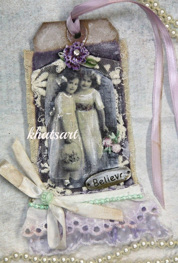 Premade Page Albums * SISTERS * Ornaments Gift Tags for Scrapbooking Fabric tags, Hang tags