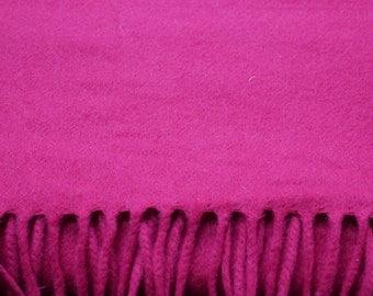 Wool Cashmere Blend Scarf Vintage Wool Cashmere Blend Magenta Pink Purple Scarf