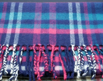 Cashmere Scarf Vintage Cashmere Made in Scotland Pink Blue Plaid