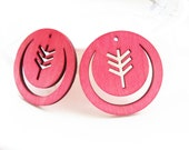 Dyeing Series - 36x 36 mm Filigree Hot Pink / Red Round Tree Wood Dangle/ Wooden Charm/Pendant NM88
