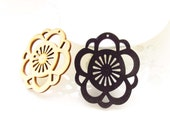 Dyeing Series - 43x 50mm Filigree Nature / Black Flower Wood Dangle/ Wooden Charm/Pendant NM79