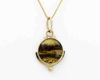 Montana Agate Pendant in 14K Gold Art Deco Inspired Agate Necklace Fine Handmade Jewelry