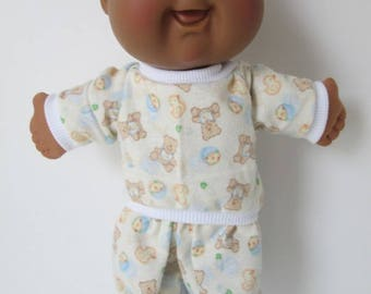 "11"" Newborn Cabbage Patch Footed Teddy Bear Print Pajamas"