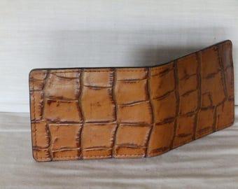 LeatherAlligator Print Bi-Fold Wallet