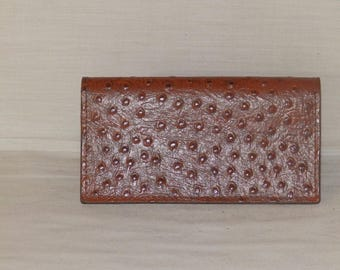 Leather Ostrich print Handcrafted Checkbook Cover