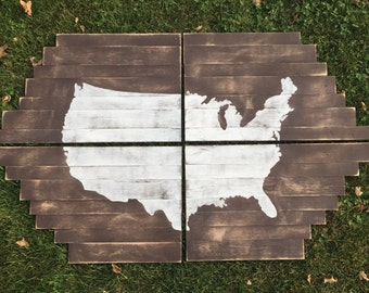 Us Map Wall Art plank wood usa map | etsy