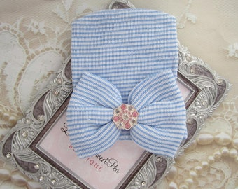 Newborn Hospital Hat, Blue / White Stripe with Big Bow & Rhinestone Center, baby hat, baby gift, ready to ship, Lil Miss Sweet Pea Boutique