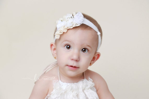 White and Off-White Tie-back Headband for all ages, lace and cluster of small flowers, photography prop, by Lil Miss Sweet Pea