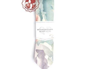 Colored Water - Skinny Tie - Wedding - Monogram - Groom