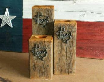 Rustic Texas tealight candle holder