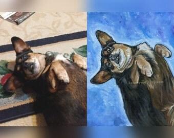 Custom Pet Portrait 8x10 Art, Nursery Decor, Personalized Gift, Dog Memorial, Bird Lover, Cat Artwork, Acrylic Canvas Painting