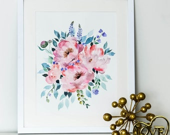 "Peony Water Color Floral Art (12"" x 16"")"