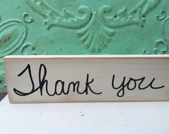 Ivory and Black Thank You Wedding Sign, Wooden Wedding Sign Decor, Wood Thank You Signage
