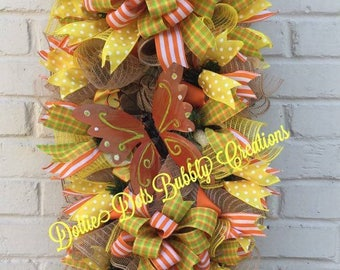 Yellow/ Orange Plaid, Stripes and Polka Butterfly Swag, Summer Swag, Butterfly Swag, Summer Wreath