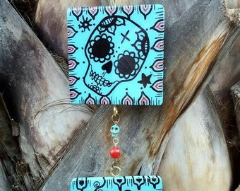 Sugar skull Day of the dead Skull hanging or wind chime home decor