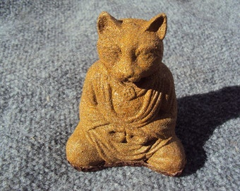 Meditating Cat, Stone Coated With Brass Metal Flakes