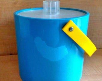 Vintage Shelton Ware Sheltonware Ice Bucket Rare Blue and Yellow Colors Mid Century Retro