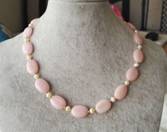 Jade Necklace- 13*18 mm pink jade and white freshwater pearl necklace