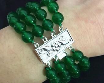 jade bracelet- 4 rows 8 mm green jade bracelet