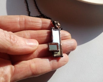 Mirror necklace, gift for women, copper wire, artistic jewelry, unusual pendant