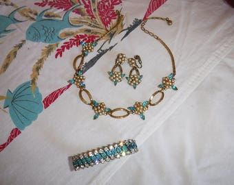 Vintage Coro costume jewelry set necklace earrings and bracelet festoon style necklace