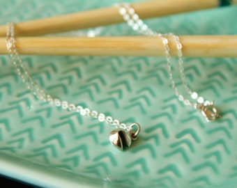 Tiny Fortune Cookie Necklace in Sterling Silver