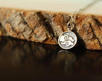 Air Element Coin Necklace in Sterling Silver