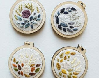 Little Coral Embroidery Hoop Art - 3cm - 4 colours available
