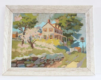 Framed vintage painting, painting of house and landscape, acryclic on heavy paper and solid oak frame