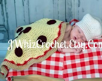 Crochet Pizza Blanket and Chef Hat Pattern, Newborn Photo Prop Set, 0 - 6 month size, Crochet Pattern, Pizza Baby Blanket, PDF Pattern