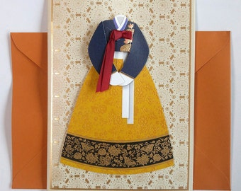 Hanbok with a burgundy ribbon - Hanbok Card - Korean Traditional Cloth Hanbok