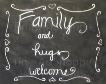 Welcome sign, family welcome chalkboard sign, welcome chalkboard, family signs, family print, family sign, chalkboard digital