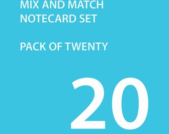 Note Cards - Set of Twenty - Mix and Match