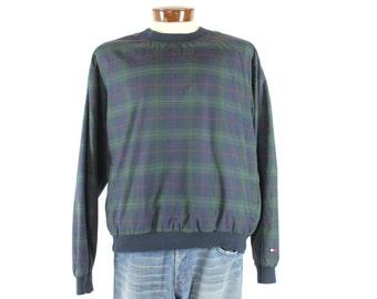 Vintage 90s Tommy Hilfiger Golf Sweatshirt Pullover Plaid Long Sleeve Shirt 1990s Mens XL x-large