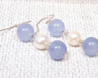 Blue Jade and Pearl Sterling Silver Dangle Earrings,Hand Made, Pierced Earrings