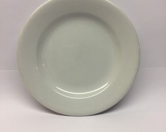 2 Syscoware China  ironstone 6 inch plate made in USA Vintage White SS co aqua cube